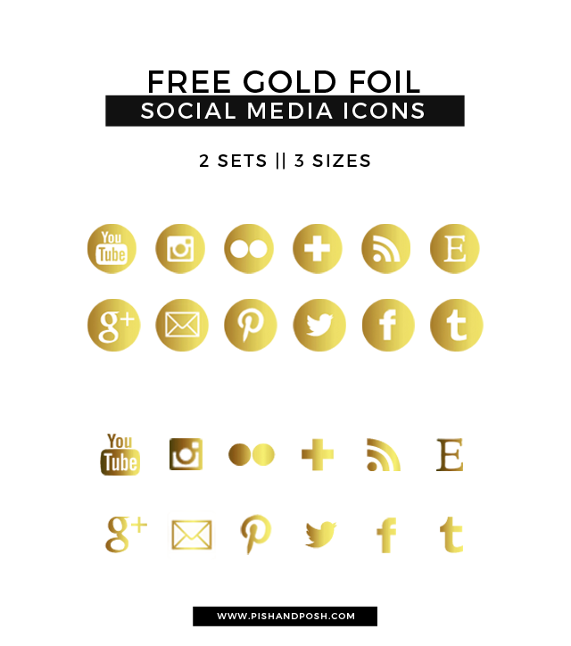 Free Gold Foil Social Media Icons For Your Blog  Social Media