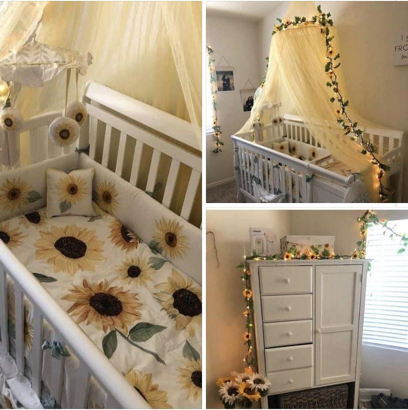 Baby Girl Nursery Room, Sunflower Crib Bedding