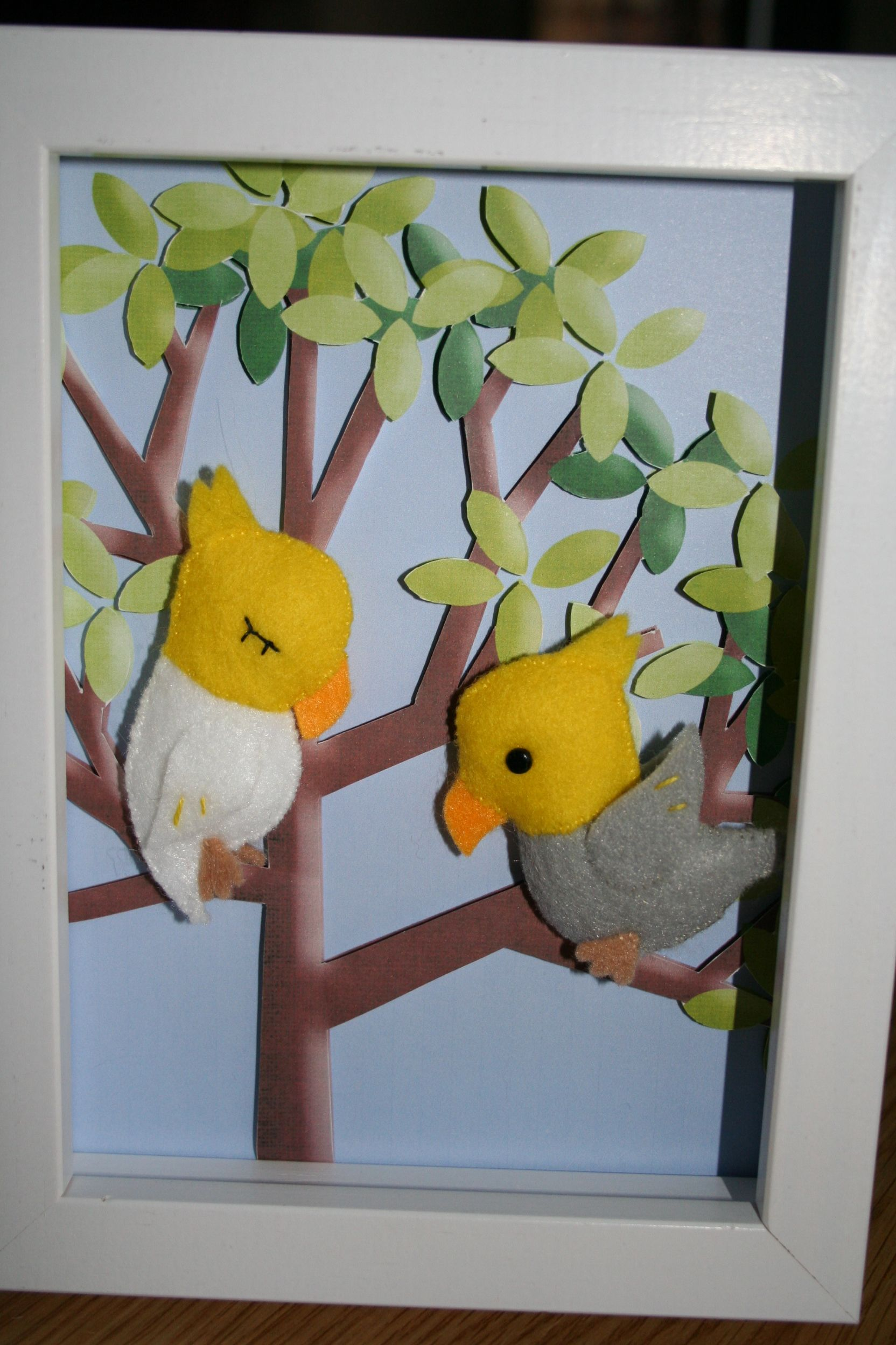 Felt parakeets in a box frame for my sister