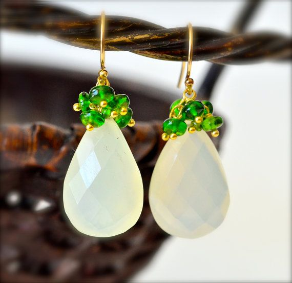 Chrome Diopside Sage Green Chalcedony Drop Spring by luxurybyvera, $69.00