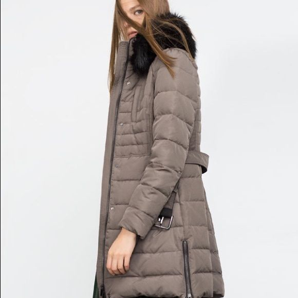 Zara Quilted Feather Coat - Brand New Beautiful and so warm and trendy!! Faux fur collar and quilted grey taupe color. Brand new!! Zara Jackets & Coats