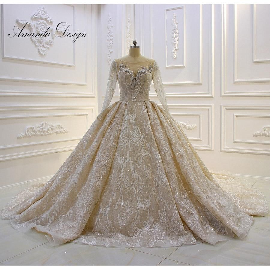Amanda Design Robe De Princesse Long Sleeve Rhinestone Crystal