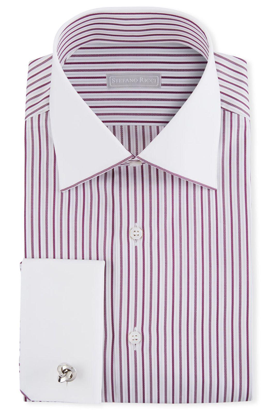 Stefano Ricci Men S Contrast Collar Cuff Striped Dress Shirt Mens Shirt Dress Shirt Dress Navy Blue Dress Shirt [ 1592 x 1056 Pixel ]