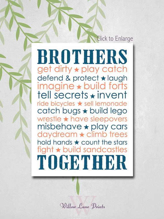 Custom brothers wall art - shared boys room wall art - big brother ...