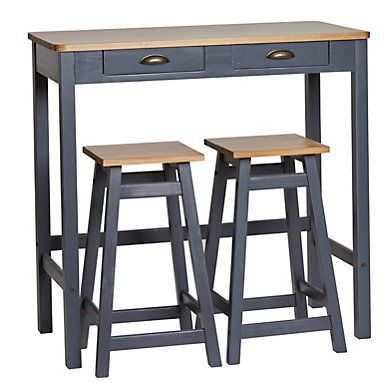 Table Bar 2 Tabourets Maya Bois Massif Gris Table Haute