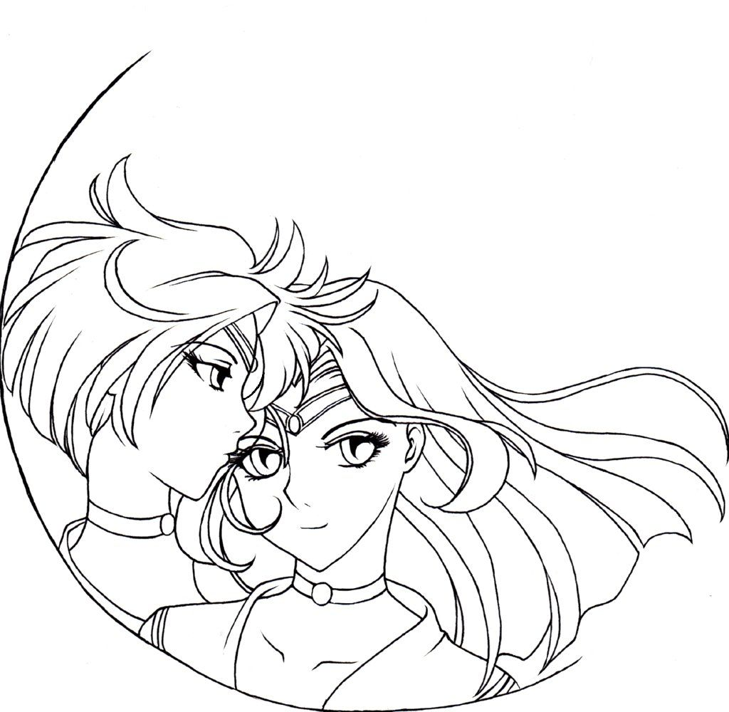 sailor neptune coloring pages sailor uranus and neptune
