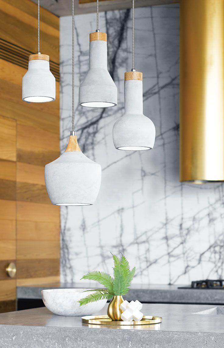 The Beacon Lighting Sculpt 1 light 150mm round pendant in concrete