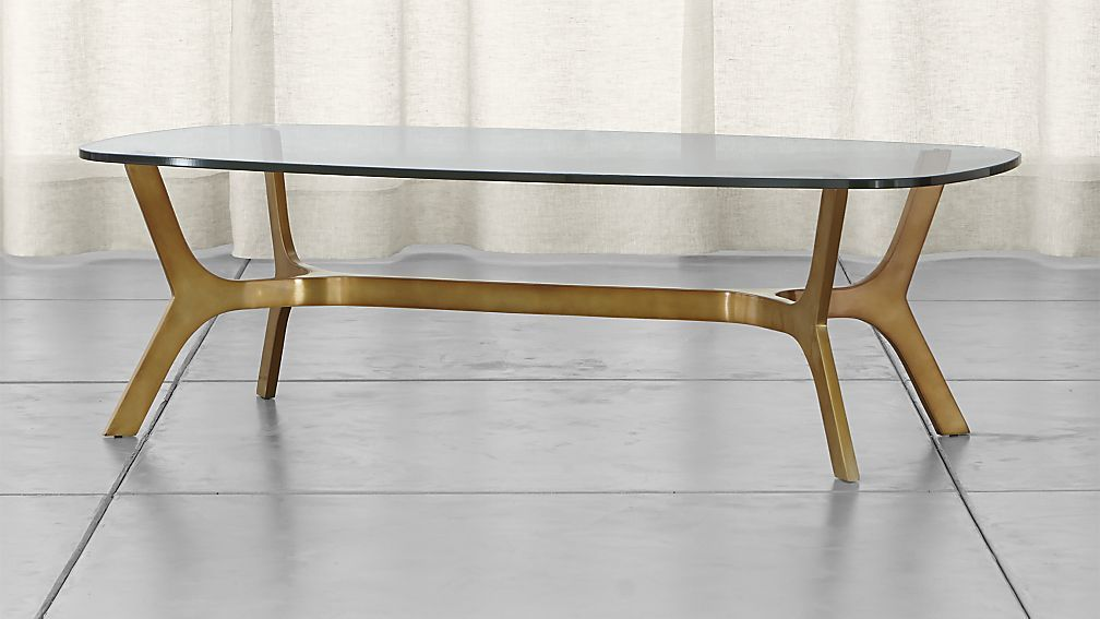 Elke Rectangular Glass Coffee Table With Brass Base Reviews