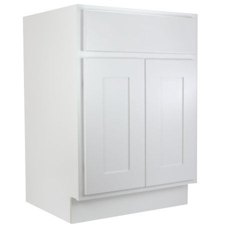 Cabinet Mania White Shaker 27 Inch Bathroom Vanity Single Sink RTA Cabinet    100% All Wood Construction, Lowest Price Online