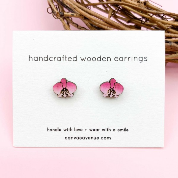 Orchid Earrings With Images Orchid Earrings Flower Earrings Studs Cute Stud Earrings
