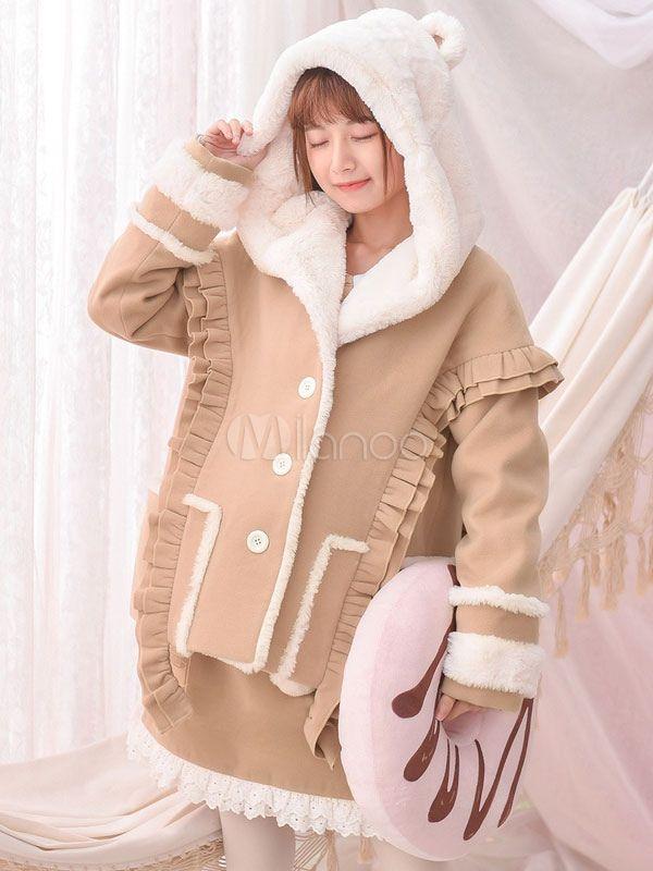 Sweet Lolita Jacket Hooded Frill Two Tone Khaki Lolita Coat
