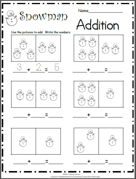 Winter Archives Page 7 Of 12 Madebyteachers Kindergarten Addition Worksheets Kindergarten Math Math Activities Preschool