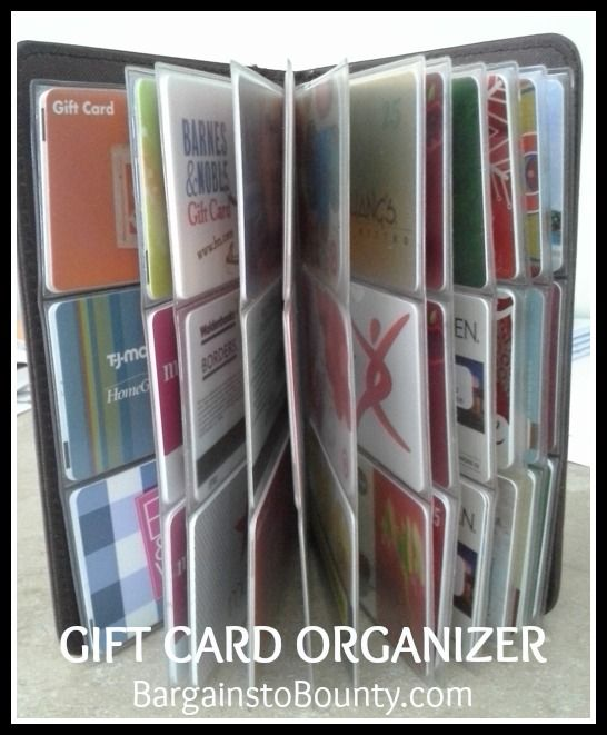 An Easy Way To Organize Gift Cards The Dollar Tree Has A Little Card Organizer Like This Card Organizer Gift Card Tree Organization Gifts