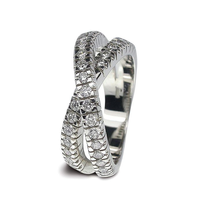 italian wedding band Italian Design 18K White Gold Diamond Wedding