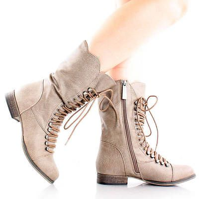 Beige Steampunk Combat Hiking Motorcycle Lace Up Mid Calf Boots Women Flat 6  « Steam Punk – SteamPunk.com