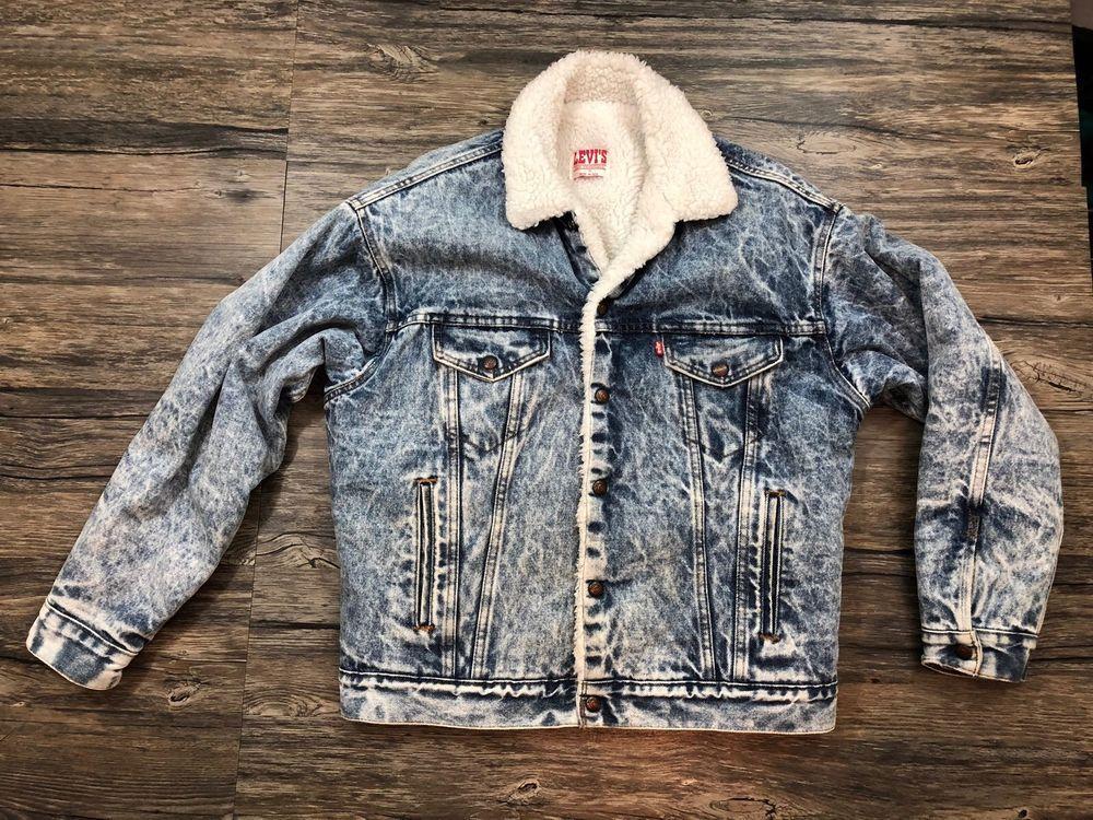 Levis Acid Wash Jacket Mens Denim Sherpa Fleece Lined Snap Medium