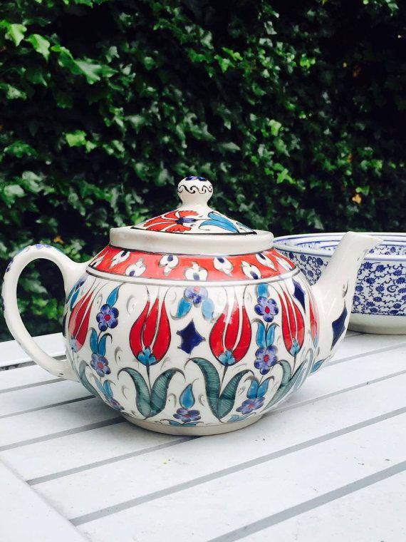 HANDMADE TURKISH TEAPOT Large Ceramic Hand Painted