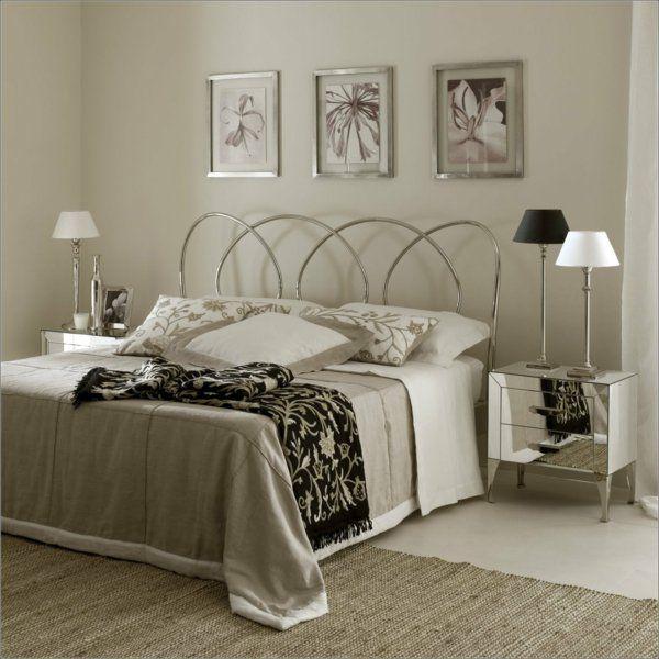Schlafzimmer Gestalten Moderne Zimmereinrichtung Tischleuchten Art Deco  Metallbett