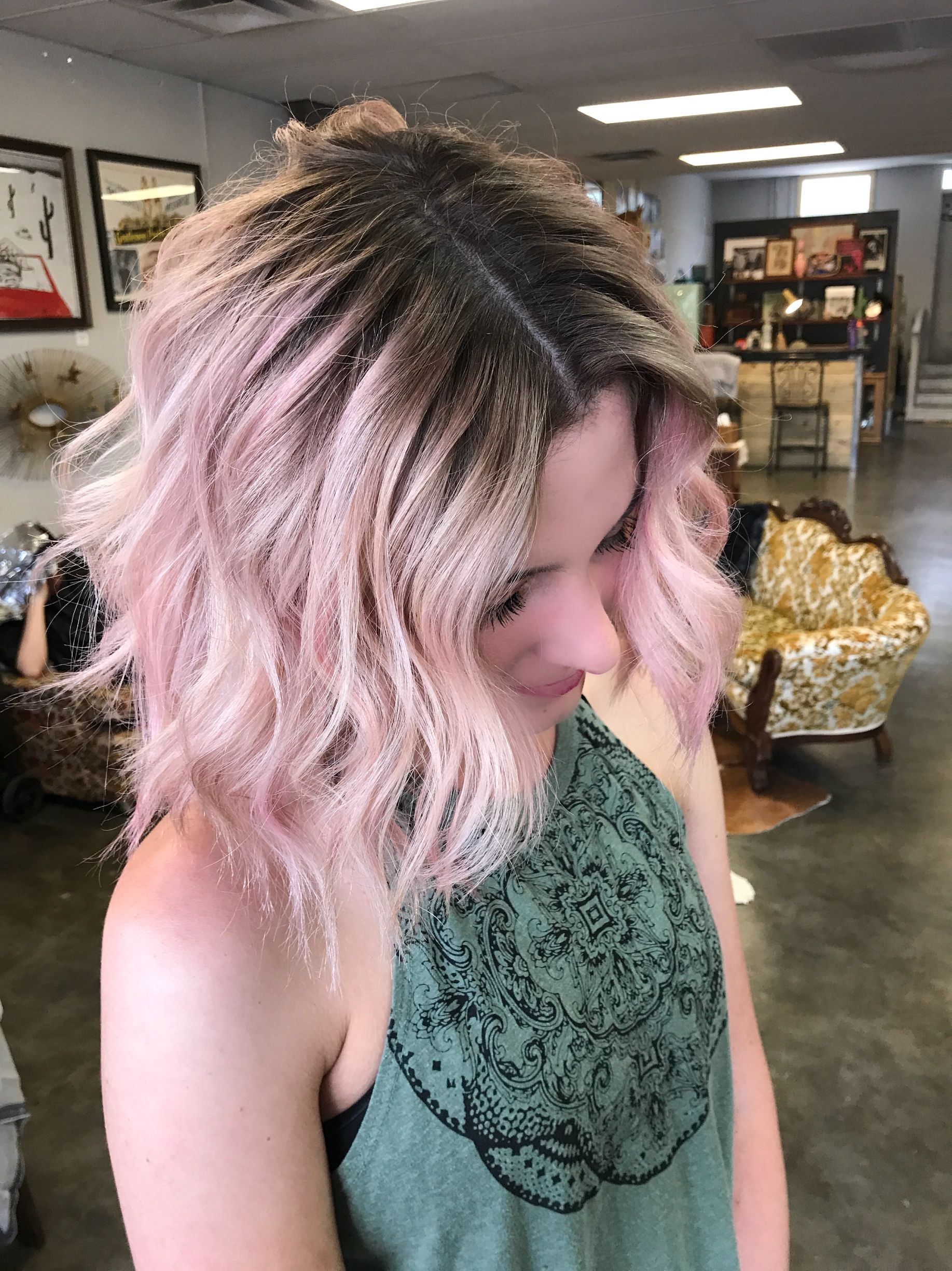 Pink Hair Shadow Root Created By Hairdesignbytoni Pink Ombre Hair Hair Shadow Pastel Pink Hair