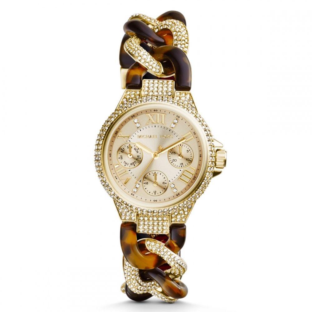 24d52a77b200 Michael Kors Women s MK4290 Mini Camille Gold Tone and Tort Glitz Watch -  Overstock Shopping - Big Discounts on Michael Kors Michael Kors Women s  Watches