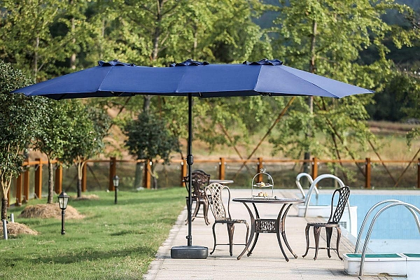Twin 9 X 15 Rectangular Market Umbrella In Fabric Color Blue By Longs Tides Brand