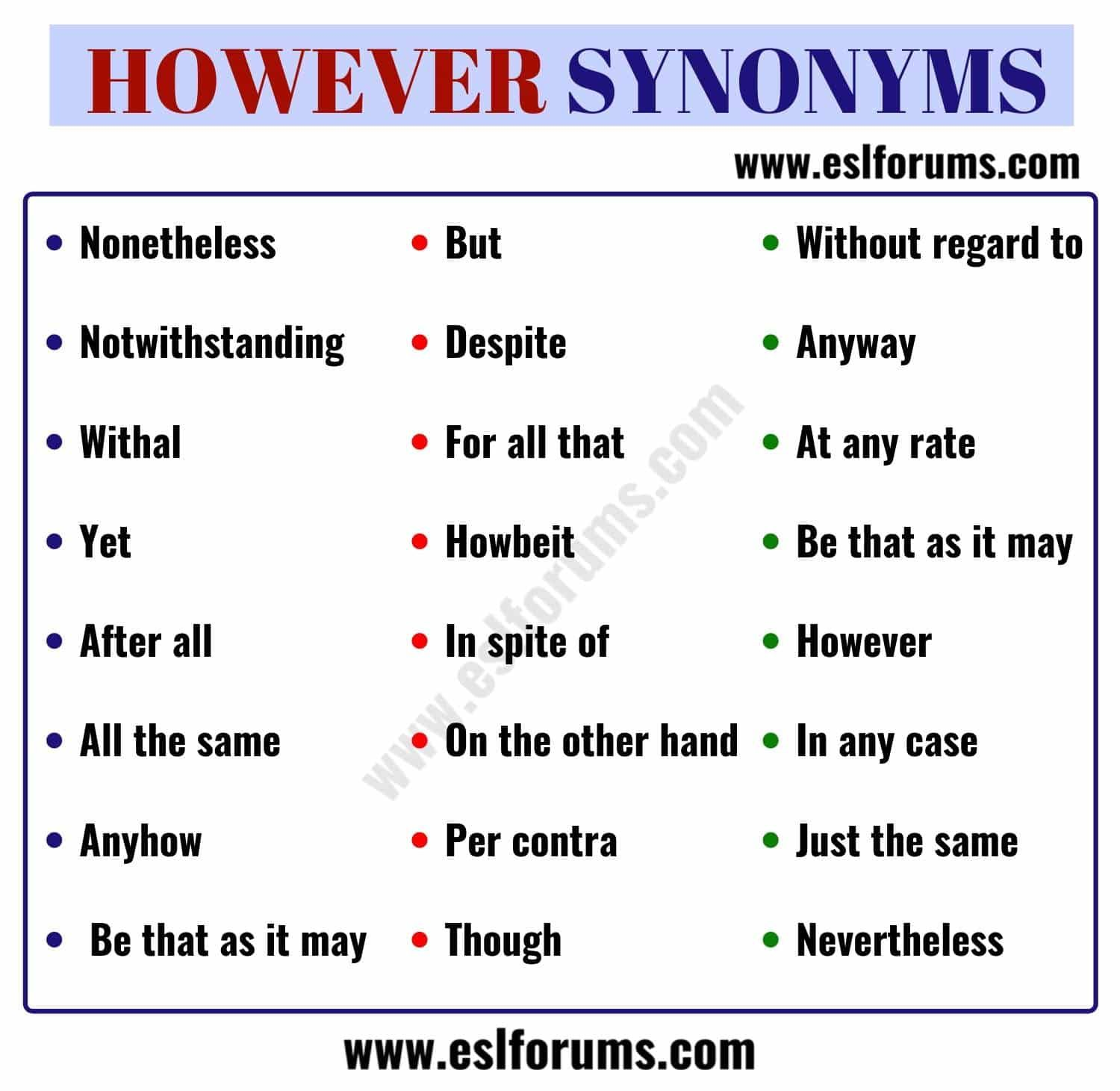 However Synonym 23 Useful Words To Use Instead Of However
