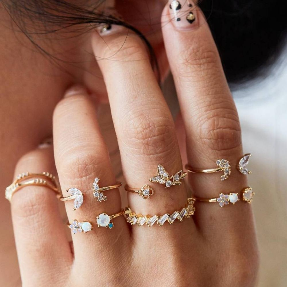 6 Pcs/set Of Butterfly, Flower, Moon, Star, Boho Crystals Rings
