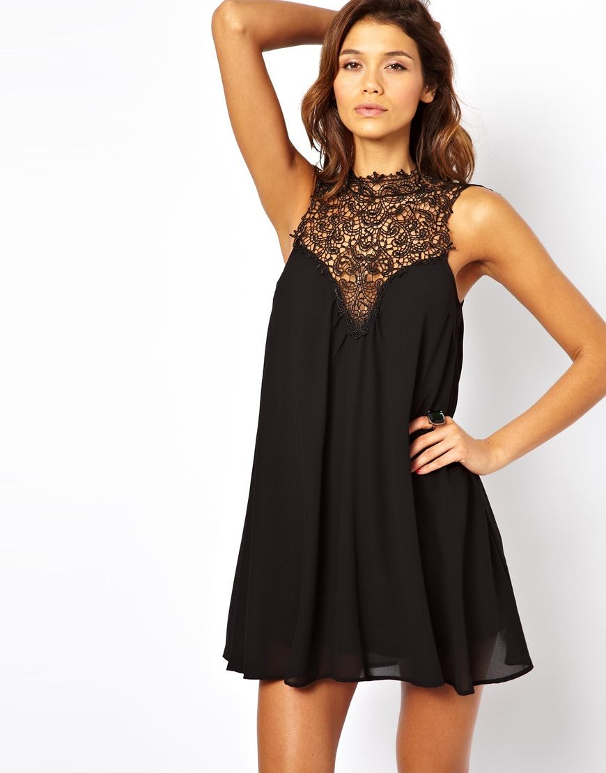 TFNC – Swing-Kleid aus Seide mit Stehkragen | my dream closet ...