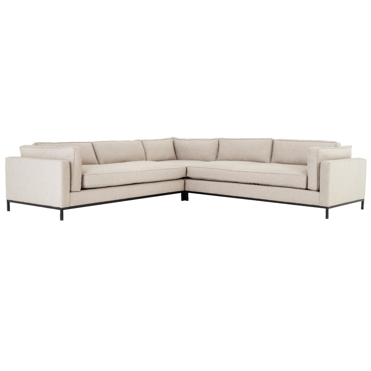 Grammercy Sand Fabric 3 Piece Corner Sectional Sofa In 2020