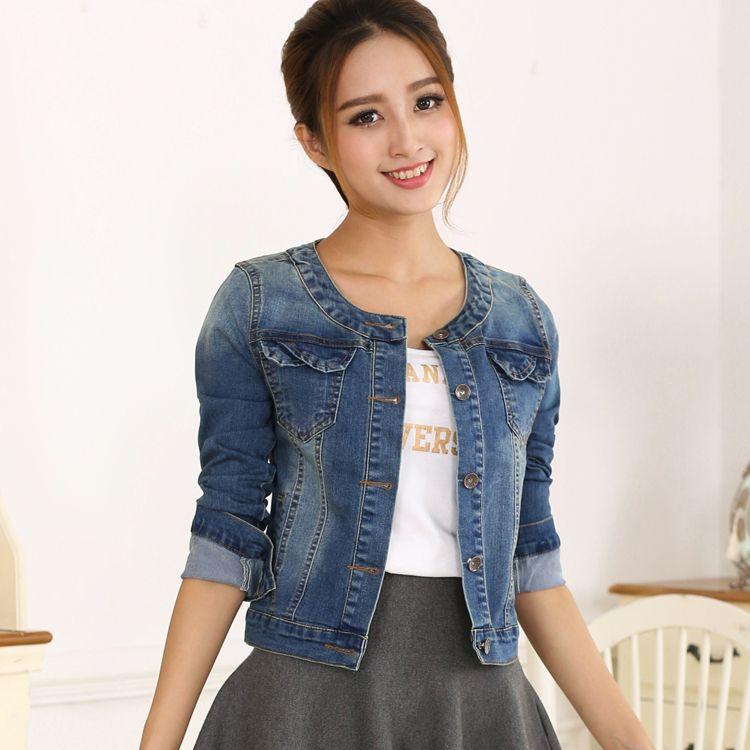 2016 Primavera Mulheres Denim Casaco Plus Size Jaqueta Jeans de ...
