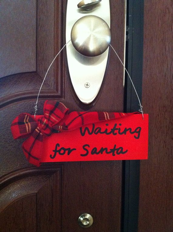 Christmas Door Sign- Waiting for Santa on Etsy, $9.00