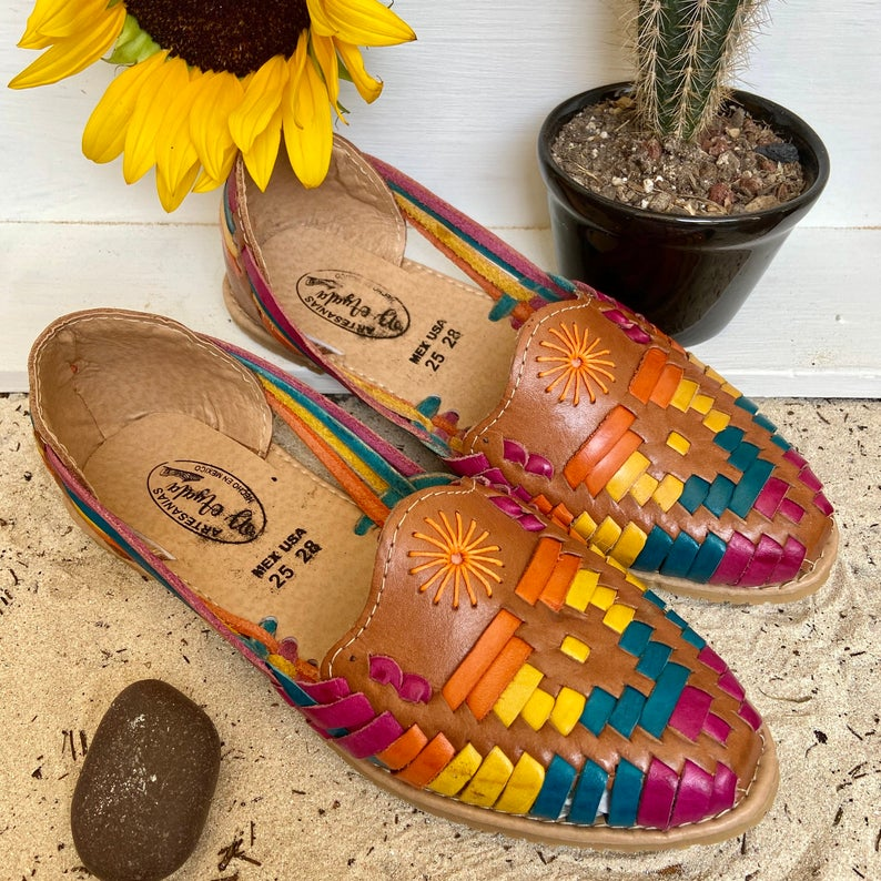 Cute Summer Sandal Free Shipping Mexican Artisanal Sandal Mexican Leather Sandal Multicolor Sandal