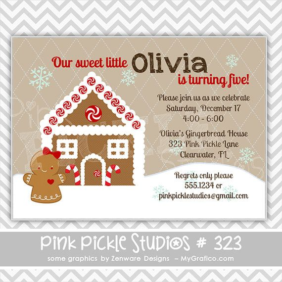 Snowy gingerbread house 323 birthday party invitation or thank snowy gingerbread house 323 birthday party invitation or thank you card filmwisefo Images