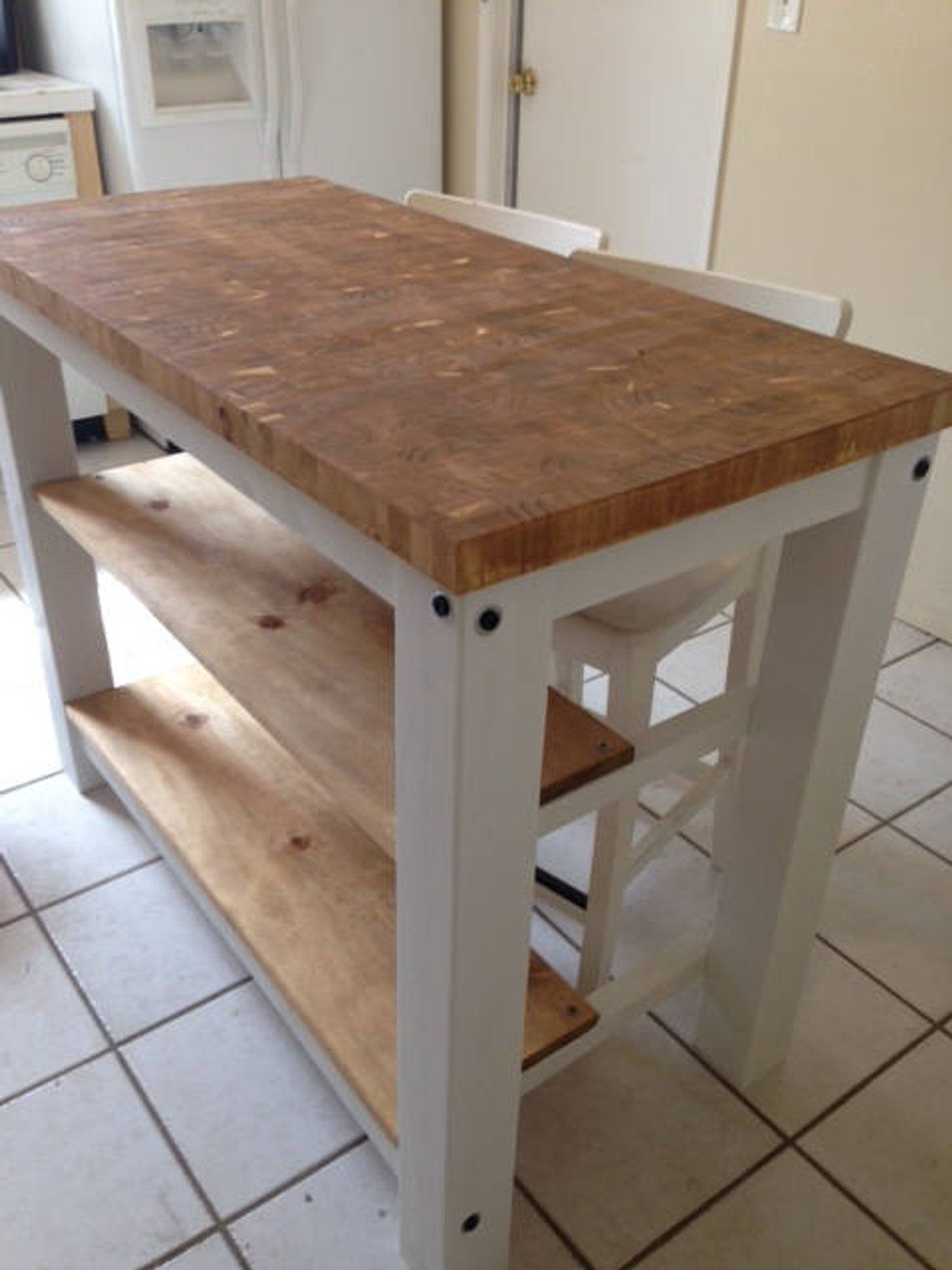 End Grain Kitchen Island Butcher Block Top With Seating For 2 3