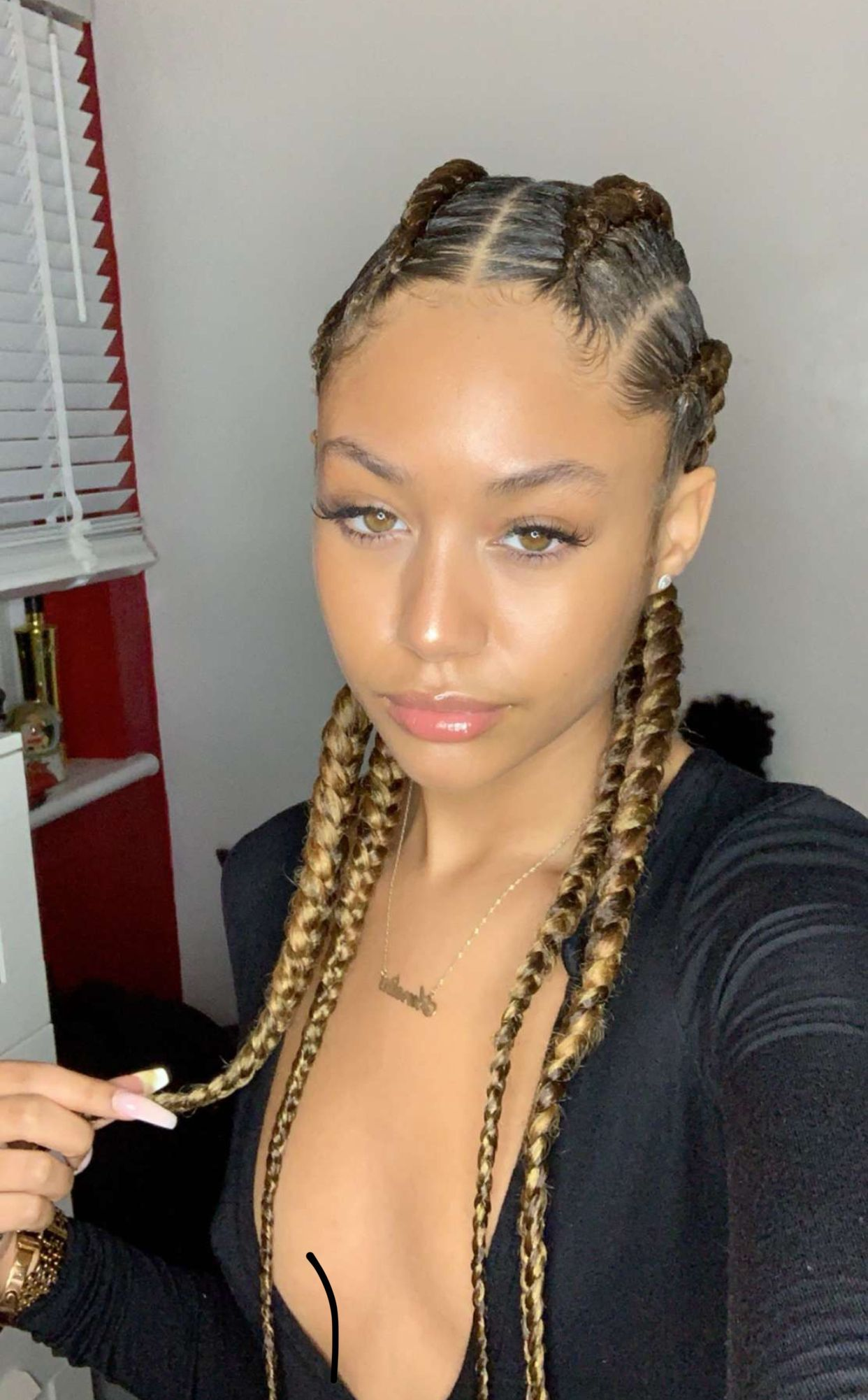 Pin By Andrea Piesz On Hairstyles Two Braids Hairstyle Black Women Braids For Black Hair African Braids Hairstyles