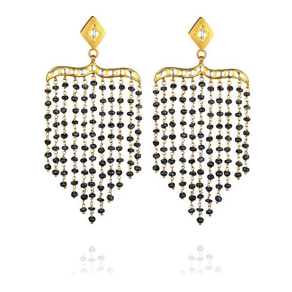 Madhuri Parson One-Of-A-Kind T-Shape Sapphire & Rock Crystal Peacock Chandelier Earrings ($4,800) found on Polyvore