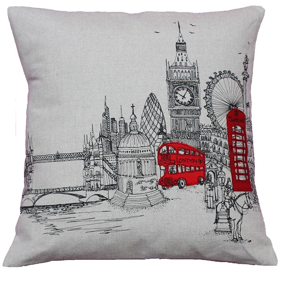 London Bedroom Accessories London Landmarks Printed Stitch Cushion Cover Buses Stitches