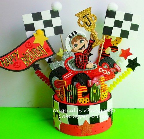 Birthday cake topper Racing Car race car party centerpiece Race