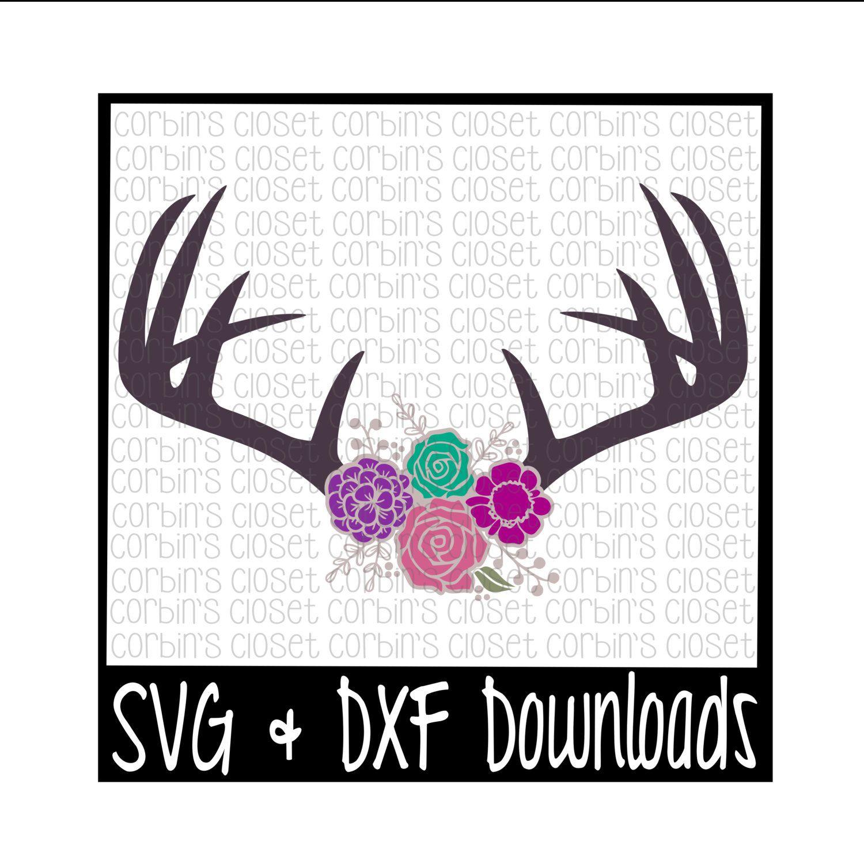 Floral Antlers SVG * Antique Flowers * Deer Antler SVG Cut