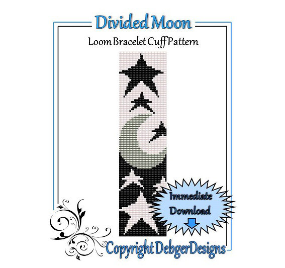 Bead Pattern LoomBracelet CuffDivided Moon