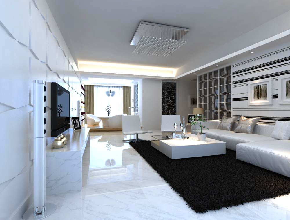 awesome black living room 3d model | 3D Home 0532 3D Model- Detailed living scene. Created with ...