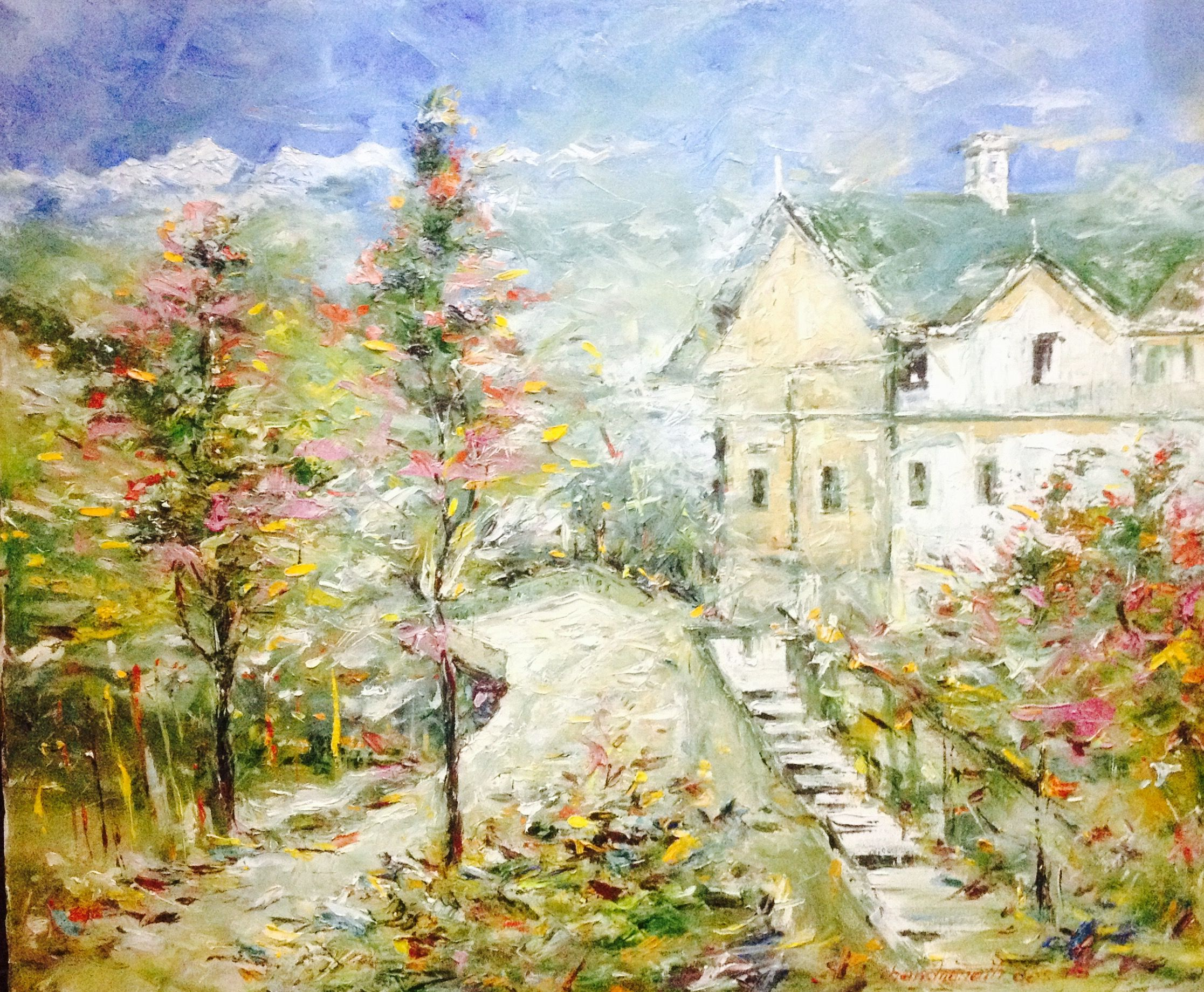 It S A Beautiful Landscapepainting Which Provides Us With A View Of A Villa Surrounded By Trees And Mountains The Artist Landscape Paintings Painting Art