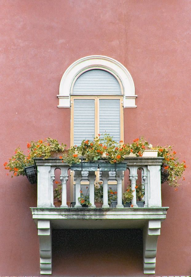 Flowered Italian Balcony Architecture Tuscan Decorating
