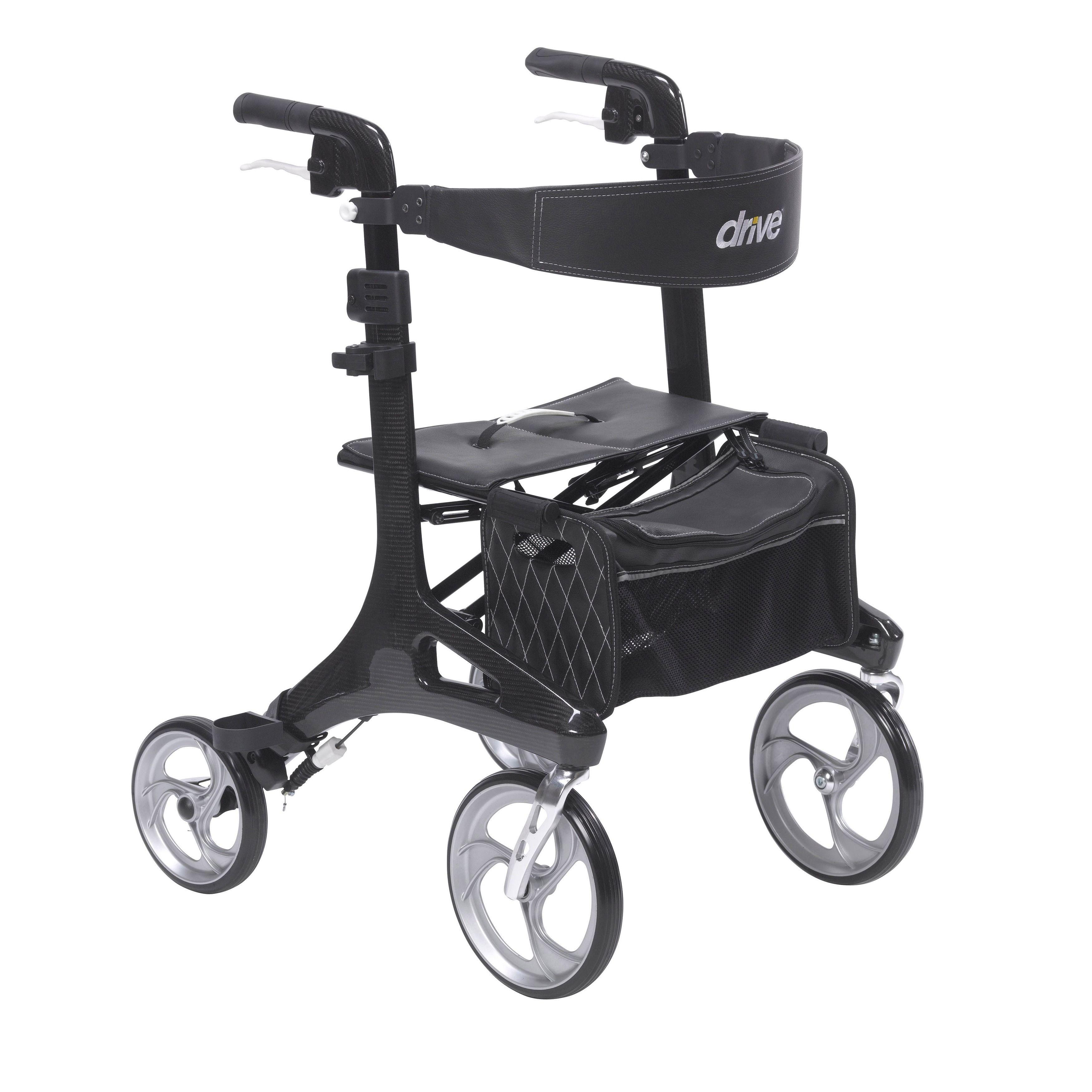 Drive Medical Nitro Elite CF Black Carbon Fiber Walker Rollator (Carbon Fiber)