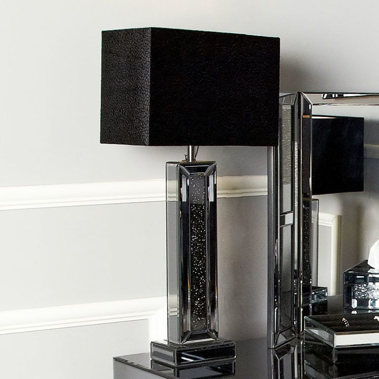 Best Diamond Glitz Noir Smoked Mirrored 7 Drawer Dressing Table 640 x 480
