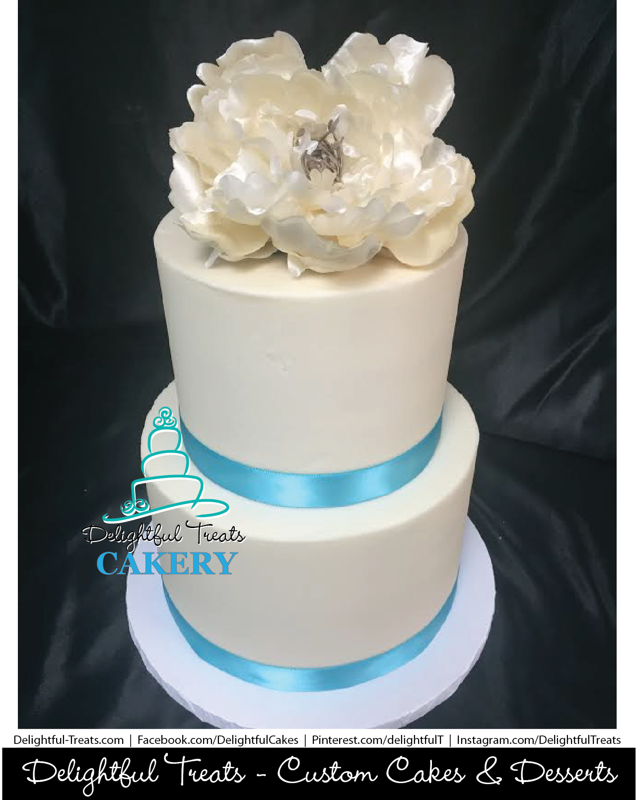 2 Tier Buttercream Wedding Cake With Ribbons And Flower By Delightful Treats Cakery Orlando