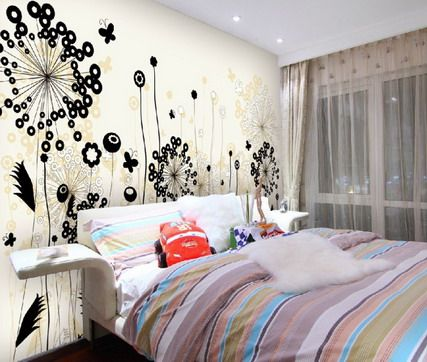 Bedroom Designs Outline modern abstract flower outline mural | abstract graffiti flowers