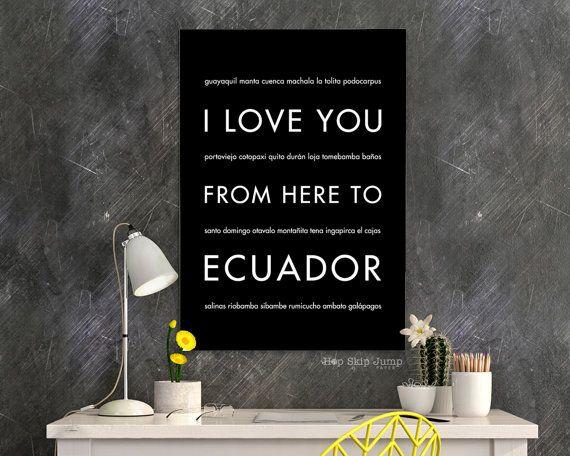 Vacation Poster Ecuador Print I Love You From Here To The ECUADOR Shown