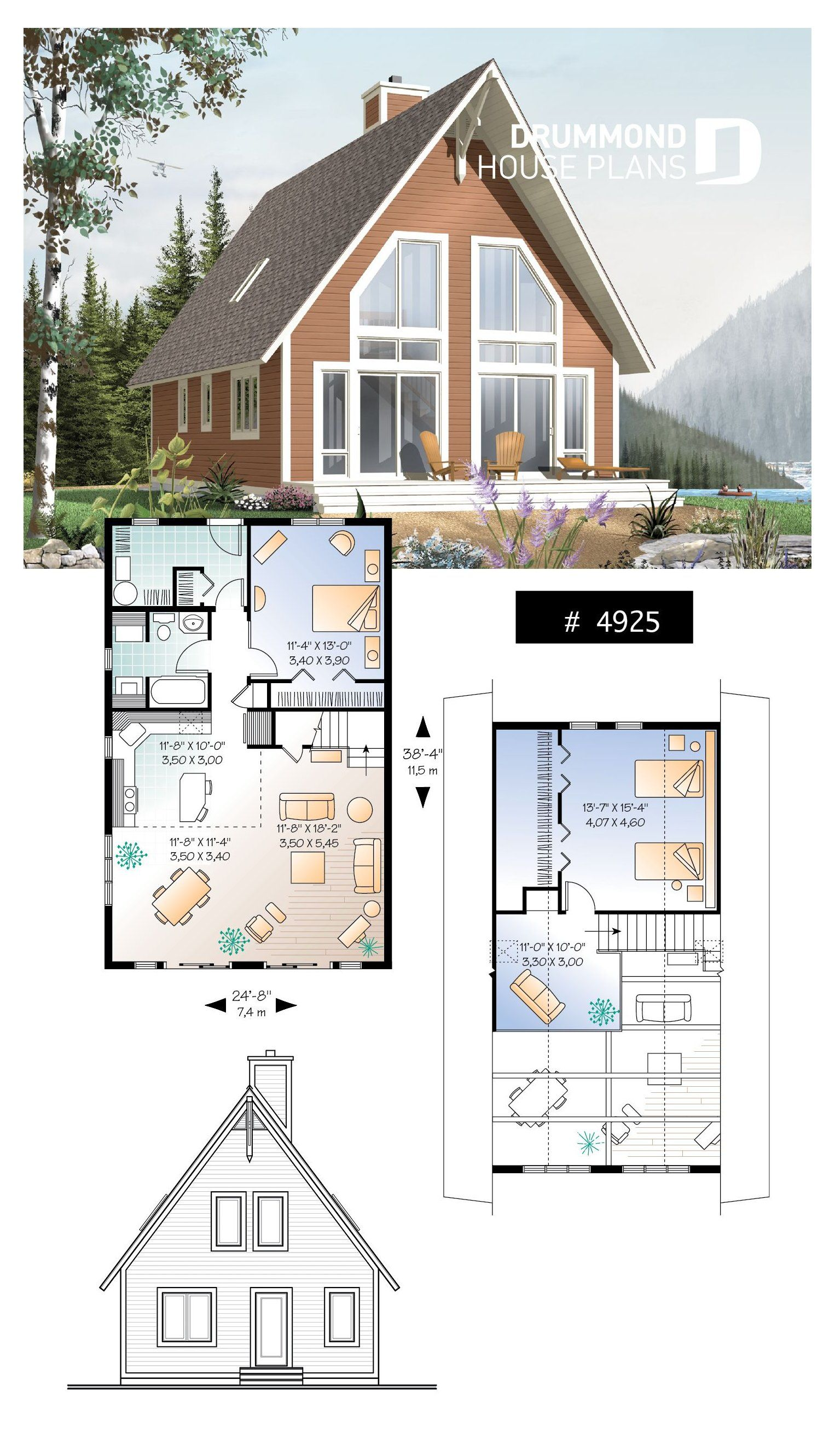 Lakefront View A Frame Chalet Traditional A Frame Rustic Cottage With Scandinavian Inspiration Mezzanine Cottage Floor Plans A Frame House Plans Cottage Plan