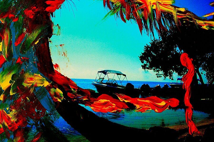 El origen de los colores, overpainted photography, Raúl Gasque.